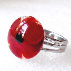 Piros virágos gyűrű, üvegékszer, ajándék nőknek névnapra, születésnapra. - Meska.hu