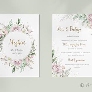 Rose esküvői meghívó, Esküvő, Meghívó & Kártya, Meghívó, Fotó, grafika, rajz, illusztráció, Rózsás, zöldes esküvői meghívó, pasztell árnyalatokban, egy kis arannyal.\n\nTovábbi információk:\n\nFor..., Meska