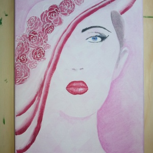Rózsaszín kalapos hölgy 20x30, Akril, Festmény, Művészet, Festészet, A Rózsaszín kalapos hölgy az egyik a korai alkotásaim közül. Az iskolai tanulmányaim előtt készült a..., Meska