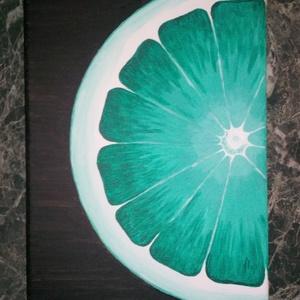 Lime akrilfestmény 20x30, Lakberendezés, Otthon & lakás, Falikép, Dekoráció, Kép, Festészet, Ezt a képet egy narancsos internetes forrás ihlette. A sorozat második része. \n\nAkrilfestmény Munkác..., Meska