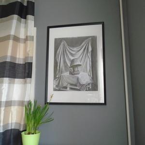 Csendélet éjjeli lámpával 42x58, Dekoráció, Otthon & lakás, Kép, Lakberendezés, Falikép, Festészet, A képen látható festmény szénnel készült. Festői vonásai és a kép mérete emelte ki a többi szénrajzo..., Meska