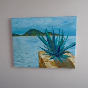 Horvát tengerpart festmény, Otthon & lakás, Dekoráció, Képzőművészet, Festmény, Akril, Kép, Napi festmény, kép, Festészet, Acril festmény egy Horvát tengerparti fotó alapján.\nA képen a tenger dominál, a háttérben egy sziget..., Meska