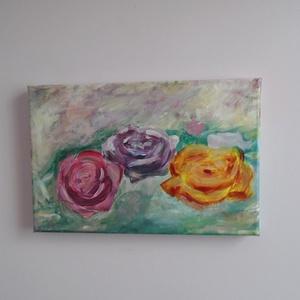 Rózsák - akril festmény 20x30 cm, Otthon & lakás, Képzőművészet, Napi festmény, kép, Lakberendezés, Falikép, Festmény, Akril, Festészet, 3 rózsaszál finom pasztellszínekkel megfestve.\nFeszített vászon keret nélkül, akasztó van rajta.\n\nMé..., Meska