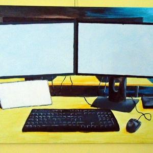 Open office, Asztalom 50x70 cm, Otthon & lakás, Képzőművészet, Festmény, Akril, Festészet, Akril festmény\nAz irodai munka hangulatát idézi.\n\nMérete 50x70\nKeret nélkül., Meska