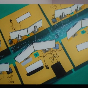 Open office, Felülnézet 50x70 cm, Otthon & lakás, Képzőművészet, Festmény, Akril, Festészet, Akril festmény\nAz irodai munka hangulatát idézi.\n\nMérete 50x70\nKeret nélkül., Meska