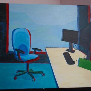 Open office, Asztal székkel 50x70 cm, Otthon & lakás, Képzőművészet, Festmény, Akril, Festészet, Akril festmény\nAz irodai munka hangulatát idézi.\n\nMérete 50x70\nKeret nélkül., Meska