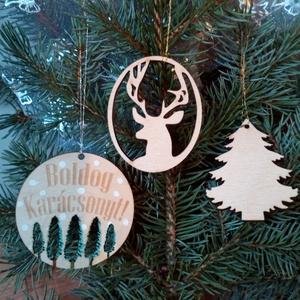 Karácsonyi dekoráció, rétegelt lemezből, Karácsonyfadísz, Karácsony & Mikulás, Gravírozás, pirográfia, Festészet, A csomag három darab, rétegelt lemezből kivágott díszt tartalmaz, melyek natúr, vagy fehér színben e..., Meska
