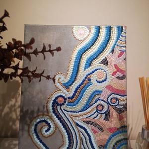 Hullámok, Akril, Festmény, Művészet, Festészet, 25x30cm-es, pontozott technikával készült festmény feszített vászonra.\nFestményeimet legfőképpen a t..., Meska
