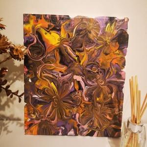 Virág kavalkád, Művészet, Festmény, Akril, Festészet, 25x30cm absztrakt festmény, melyet a fluid  technikán belül egy nagyon érdekes módodon alakítottam k..., Meska