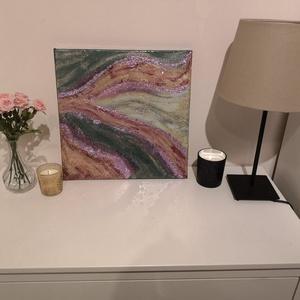Absztrakt festmény , Művészet, Festmény, Festmény vegyes technika, Festészet, 40x40-es, vegyes technikával készült festmény,feszített vászonra. Először alapoztam, aztán felvittem..., Meska