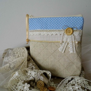 Vászon-pamut kozmetikai táska, neszesszer, vintage sminktáska - Meska.hu