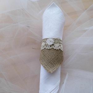 Esküvői szalvétagyűrű zsákvászonból, Esküvő, Asztaldísz, Dekoráció, Varrás, Meska