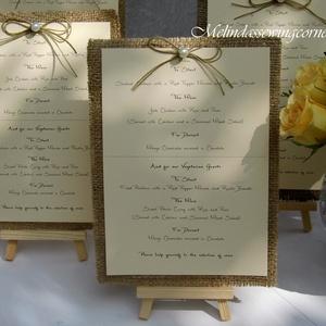 Rusztikus menükártya állvánnyal 5db - esküvő - meghívó & kártya - menü - Meska.hu