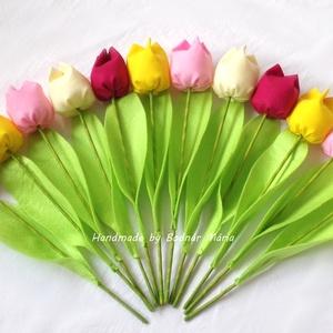 Textil tulipán (12 db, rózsaszín-sárga), Otthon & lakás, Dekoráció, Csokor, Dísz, Ünnepi dekoráció, Húsvéti díszek, Varrás, 25 cm magas textil tulipánok, amelyek hosszú ideig hangulatos díszei lehetnek bármely otthonnak.\n\nVi..., Meska