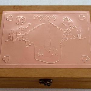 Horgászpáros doboz - egyedi felirattal rendelhető! (Dobozmanufaktura) - Meska.hu