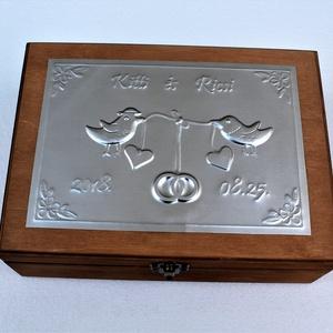 Nagy madárkás esküvői doboz - egyedi felirattal rendelhető! (Dobozmanufaktura) - Meska.hu