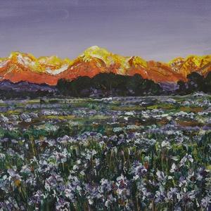 Tavaszi harmónia a hegyekben., Otthon & lakás, Lakberendezés, Falikép, Festészet, Esti nyugalom és varázslat, még érződik a hideg, de a virágok már türelmetlenek..... \n40 x 30 cm-es ..., Meska