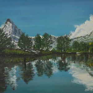 A természet tükre., Otthon & lakás, Képzőművészet, Festmény, Festmény vegyes technika, Festészet, Zord, de szép különleges táj. 47 x 30 cm-es kombinált akvarell technikával készült festmény keretben..., Meska