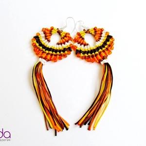 Maracas fülbevaló (Narancssárga), Ékszer, Rojtos fülbevaló, Fülbevaló, Csomózás, Meska