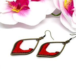 Csepp formájú fonal fülbevaló - piros - ékszer - fülbevaló - lógó fülbevaló - Meska.hu