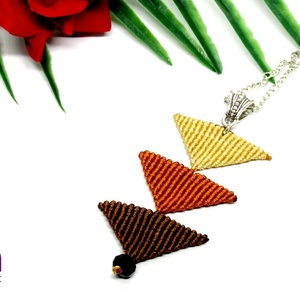 Tripla háromszög nyaklánc - barna - Meska.hu