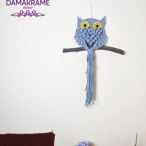 Makramé bagoly falidísz – szürke (DombiAnita) - Meska.hu