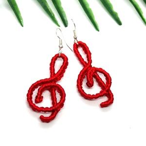 Violinkulcs fülbevaló - piros, Ékszer, Lógó fülbevaló, Fülbevaló, Csomózás, Ékszerkészítés, Meska