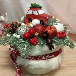Karácsonyi asztaldísz , Karácsony & Mikulás, Karácsonyi dekoráció, Virágkötés, Karácsonyi asztaldísz\nMagassága: 18 cm\nSzélessége: 16 cm\n\nSzemély átvételre Miskolcon van lehetőség...., Meska