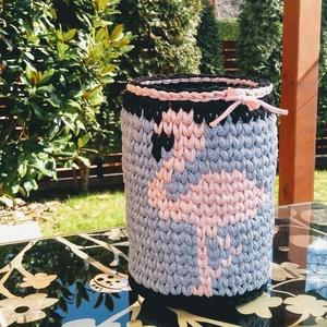 Flamingós gyerekszobai tároló, Otthon & Lakás, Tárolás & Rendszerezés, Tárolókosár, Horgolás, FLAMINGÓS gyerekszobai tároló\n\n...babadolgok tárolására,\nbabaszoba, gyerekszoba díszítésére, dekorál..., Meska