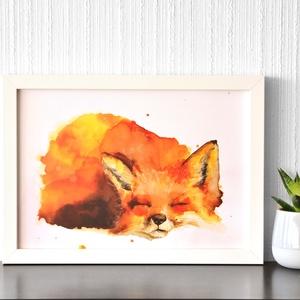 Alvó róka  - akvarell festmény (nyomat)