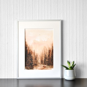 Kirándulás  - akvarell festmény (nyomat), Művészet, Művészi nyomat, Festészet, Meska