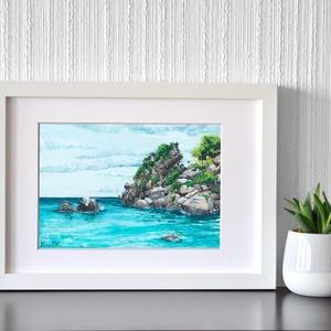 Strand - akvarell festmény (nyomat), Művészet, Művészi nyomat, Festészet, Meska