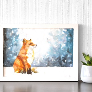 Téli róka - akvarell festmény (nyomat), Otthon & lakás, Képzőművészet, Festmény, Akvarell, Festészet, Téli róka - művészeti nyomat 190g-os papíron az eredeti akvarell festmény alapján (giclée technikáva..., Meska