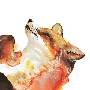 Játszó róka - akvarell festmény (nyomat) - művészet - művészi nyomat - Meska.hu
