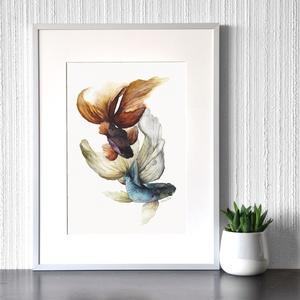 Sziámi harcos halak - akvarell festmény (nyomat), Otthon & lakás, Képzőművészet, Festmény, Akvarell, Festészet, Sziámi harcos halak - művészeti nyomat 190g-os papíron az eredeti akvarell festmény alapján (giclée ..., Meska