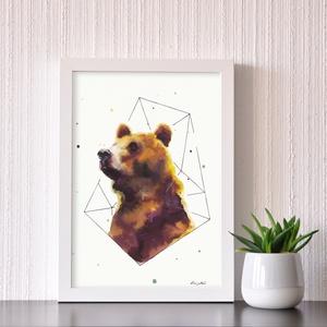 Medve portré - akvarell festmény (nyomat), Művészi nyomat, Művészet, Festészet, Medve trió - művészeti nyomat 190g-os papíron az eredeti akvarell festmény alapján (giclée technikáv..., Meska