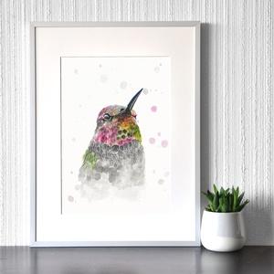 Pöttyös kolibri - akvarell festmény (nyomat), Otthon & lakás, Képzőművészet, Festmény, Akvarell, Festészet, Szivárvány kolibri - művészeti nyomat 190g-os papíron az eredeti akvarell festmény alapján (giclée t..., Meska