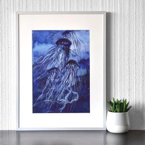 Mélytengeri medúzák - akvarell festmény (nyomat), Művészet, Művészi nyomat, Festészet, Meska