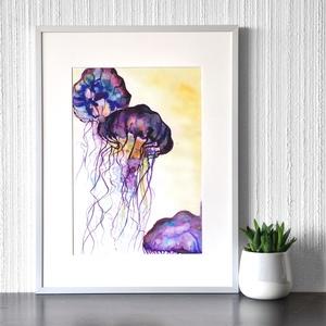 Medúzák - akvarell festmény (nyomat), Otthon & lakás, Képzőművészet, Festmény, Akvarell, Festészet, Medúzák - művészeti nyomat 190g-os papíron az eredeti akvarell festmény alapján (giclée technikával ..., Meska