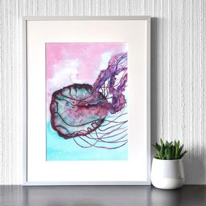 Medúza - akvarell festmény (nyomat), Otthon & lakás, Képzőművészet, Festmény, Akvarell, Festészet, Medúza - művészeti nyomat 190g-os papíron az eredeti akvarell festmény alapján (giclée technikával k..., Meska