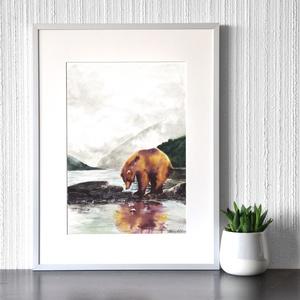 Medve a tónál - akvarell festmény (nyomat), Otthon & lakás, Képzőművészet, Festmény, Akvarell, Festészet, Medve a tónál - művészeti nyomat 190g-os papíron az eredeti akvarell festmény alapján (giclée techni..., Meska