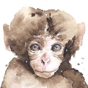 Majom bébi - akvarell festmény (nyomat) - művészet - művészi nyomat - Meska.hu