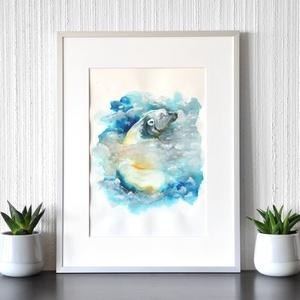 Jegesmedve - akvarell festmény (nyomat), Művészet, Művészi nyomat, Festészet, Meska