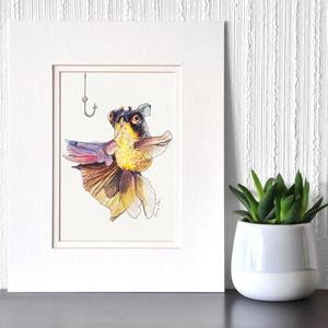 Aranyhal - ecsetfilc festmény (nyomat), Otthon & lakás, Képzőművészet, Festmény, Akvarell, Festészet, Aranyhal - művészeti nyomat 190g-os papíron az eredeti ecsetfilc festmény alapján (giclée technikáva..., Meska