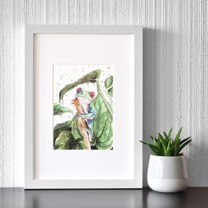 Leveli béka - ecsetfilc festmény (nyomat), Művészet, Akvarell, Festmény, Festészet, Meska