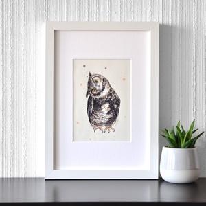 Uhu bagoly - ecsetfilc festmény (nyomat), Akvarell, Festmény, Művészet, Festészet, Uhu bagoly - művészeti nyomat 190g-os papíron az eredeti ecsetfilc festmény alapján (giclée techniká..., Meska