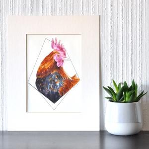 Kakas - ecsetfilc festmény (nyomat), Művészet, Akvarell, Festmény, Festészet, Meska