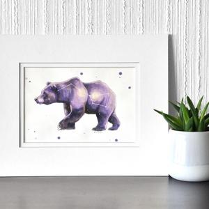 Nagy medve - ecsetfilc festmény (nyomat), Otthon & lakás, Képzőművészet, Festmény, Akvarell, Festészet, Nagy medve - művészeti nyomat 190g-os papíron az eredeti ecsetfilc festmény alapján (giclée techniká..., Meska
