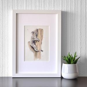 Koala - ecsetfilc festmény (nyomat), Otthon & lakás, Képzőművészet, Festmény, Akvarell, Festészet, Koala - művészeti nyomat 190g-os papíron az eredeti ecsetfilc festmény alapján (giclée technikával k..., Meska
