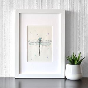 Szitakötő - ecsetfilc festmény (nyomat), Művészet, Akvarell, Festmény, Festészet, Meska